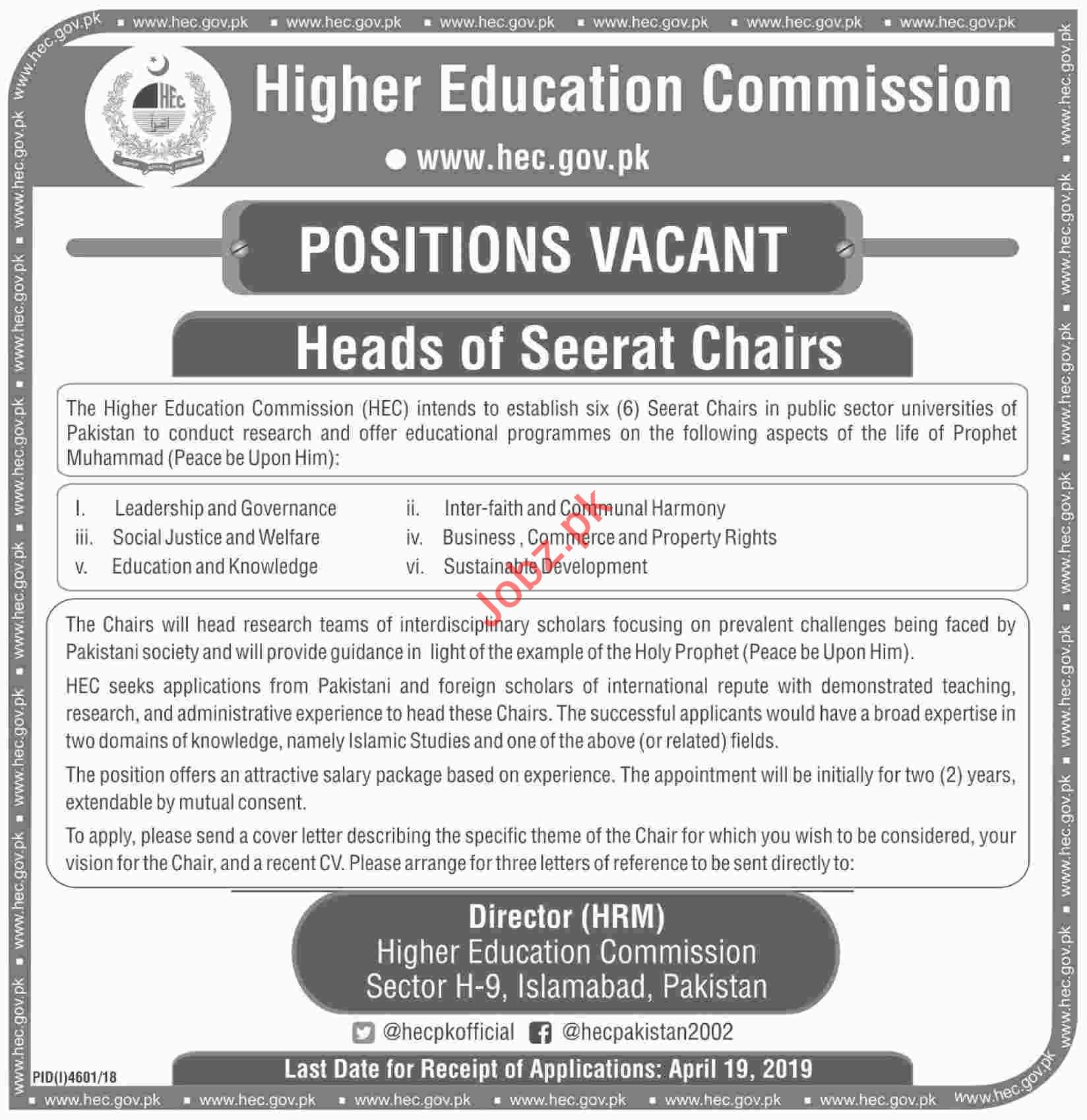 Higher Education Commission HEC Head Seerat Chairs Jobs 2019