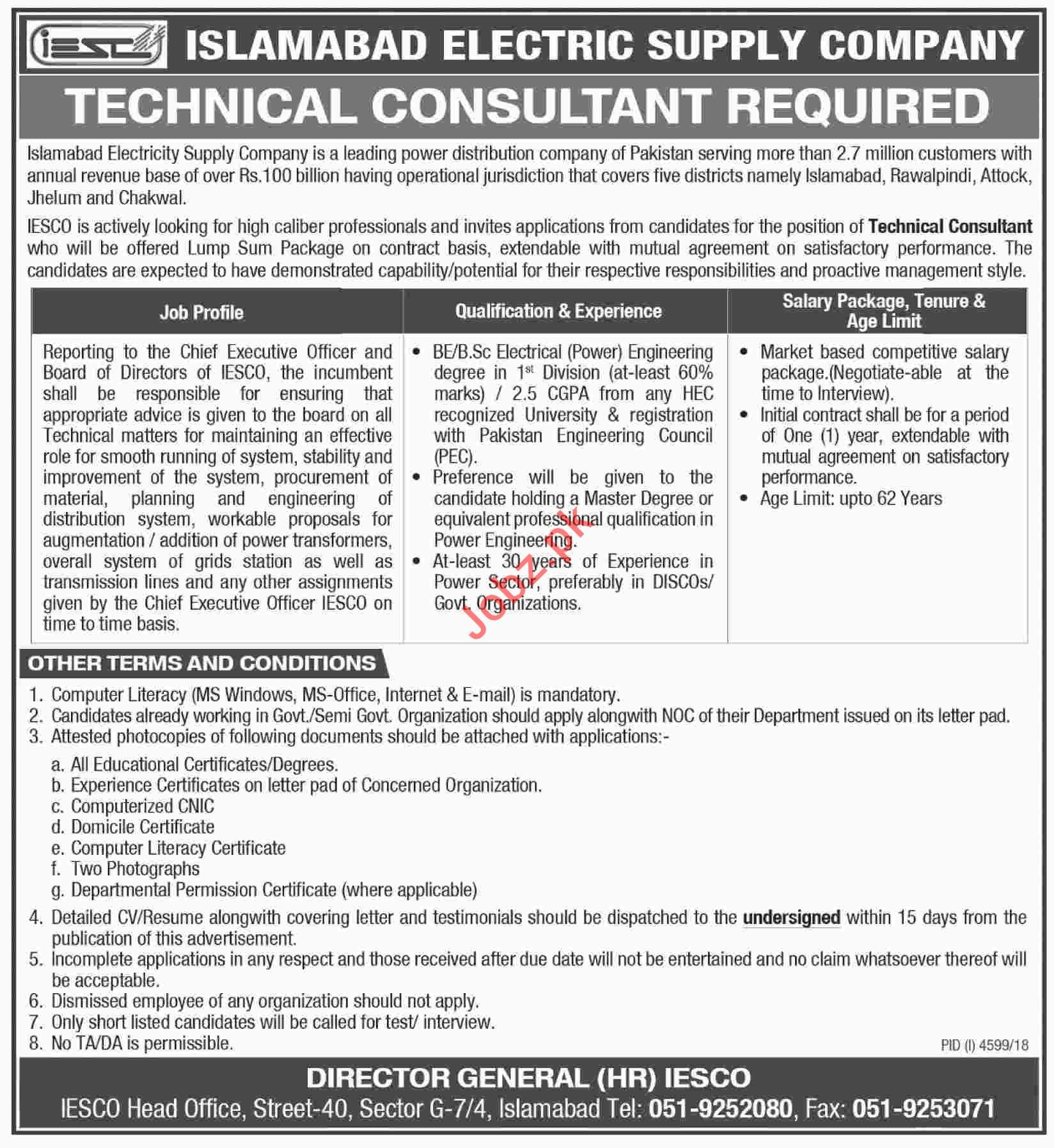 Islamabad Electric Supply Company Technical Consultant Jobs