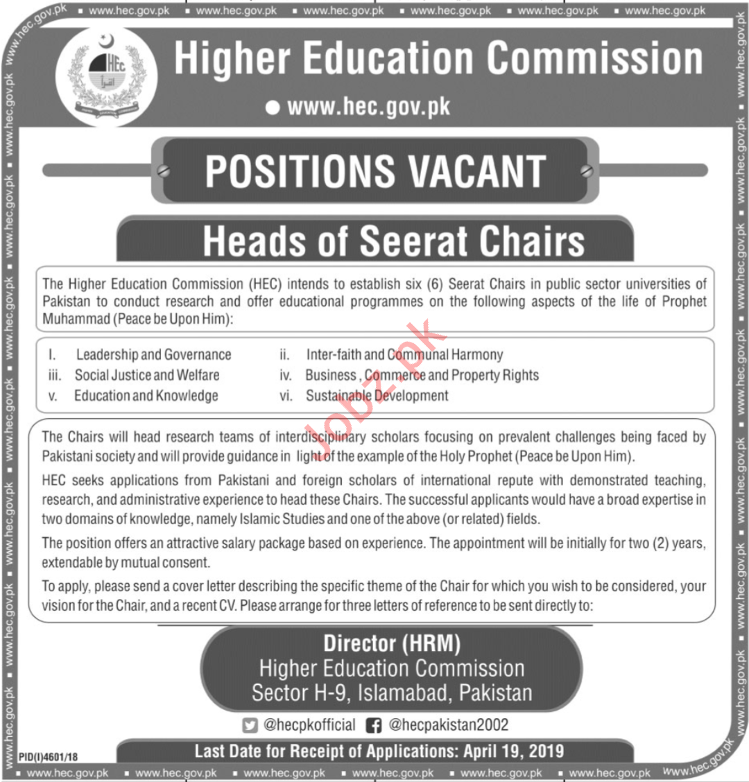 HEC Higher Education Commission Jobs in Islamabad