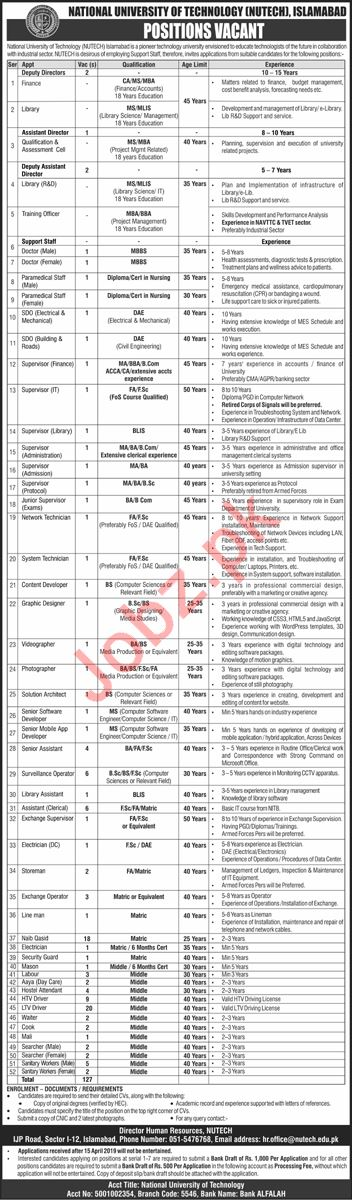 National University of Technology NUTECH Management Jobs