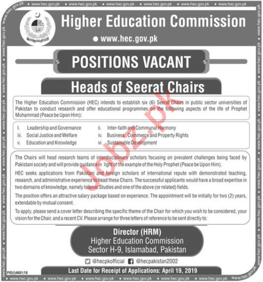 Head Seerat Chairs Jobs in Higher Education Commission HEC