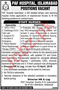 PAF Hospital Islamabad Jobs 2019 for Staff Nurses 2019 Job
