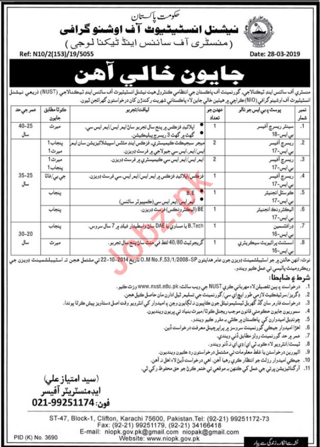 National Institute of Oceanography Jobs 2019 in Karachi