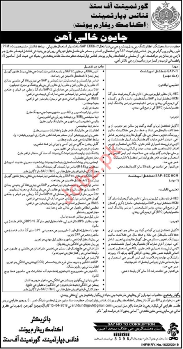 Finance Department Economic Reform Unit Jobs in Karachi