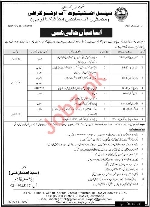 Ministry of Science & Technology MOST Research Officer Jobs