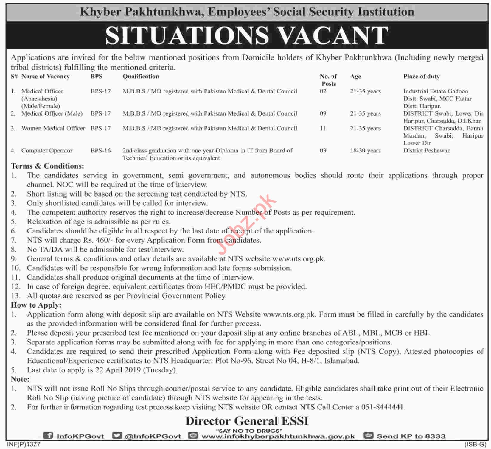 employees social security institution jobs in kpk via nts