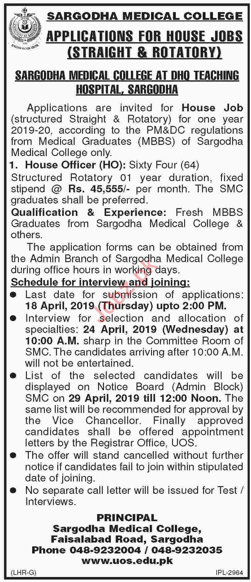 DHQ Teaching Hospital Sargodha House Jobs 2019