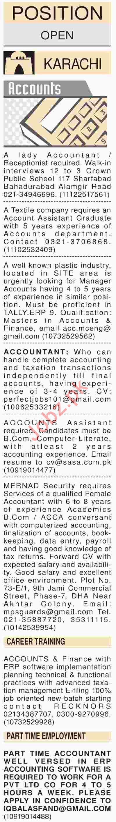 Dawn Sunday Classified Ads 31st March 2019 for Accounts