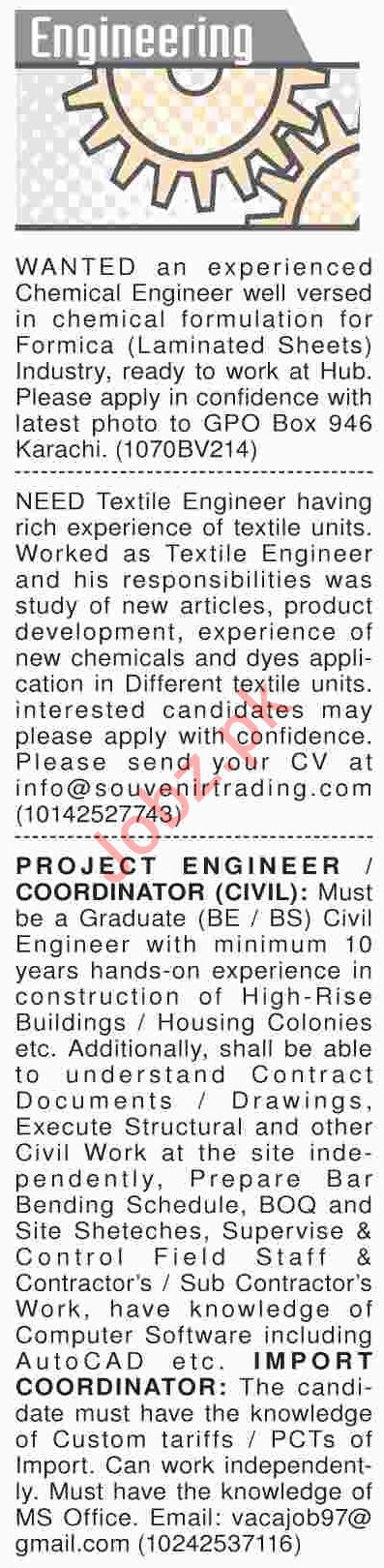 Dawn Sunday Classified Ads 31st March 2019 for Engineers
