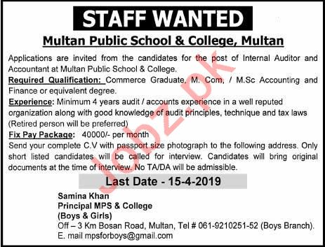 Multan Public School & College Jobs 2019 in Multan