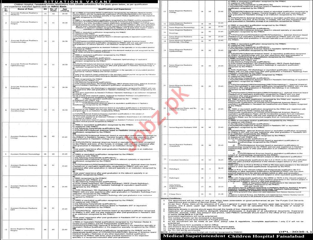 Medical Staff jobs in Children Hospital Faisalabad 2019 Job