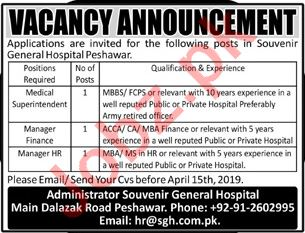 Medical Superintendant Jobs in General Hospital Peshawar