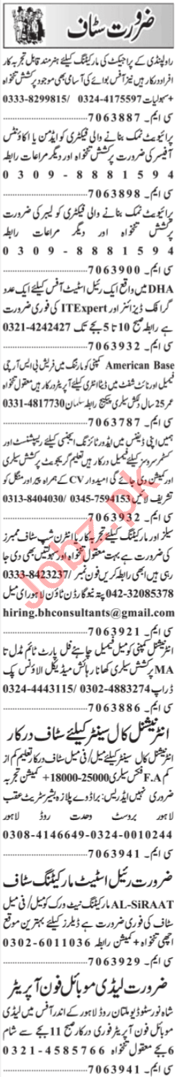 Marketing staff Job in Lahore