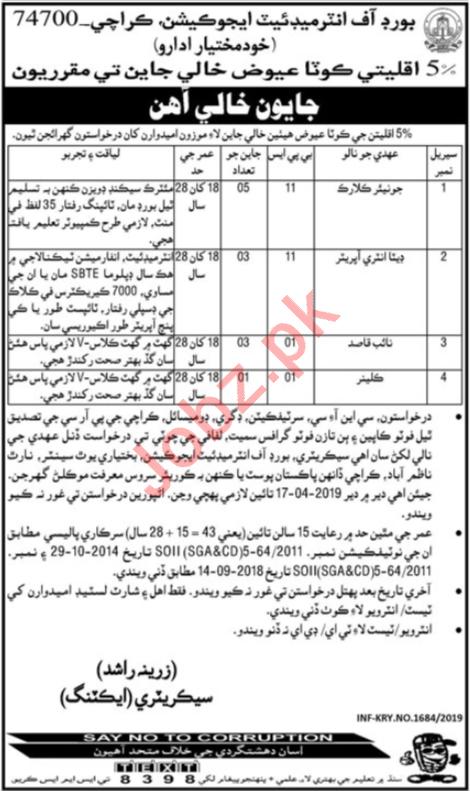 Board of Intermediate Education Karachi BIEK Clerical Jobs