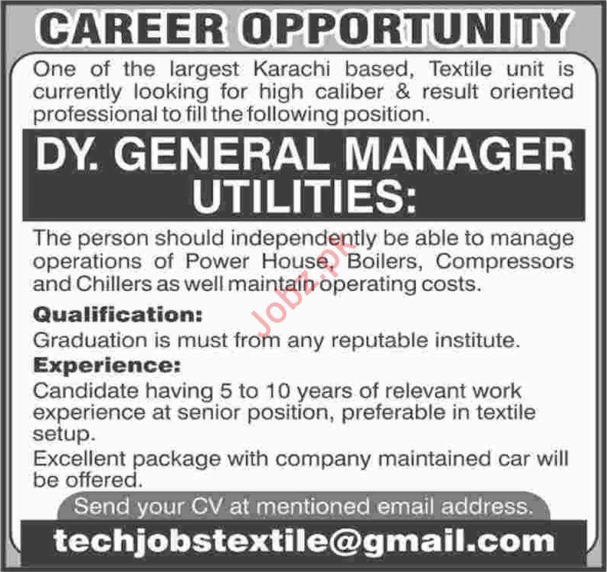 Deputy General Manager Utilities Job 2019 in Karachi