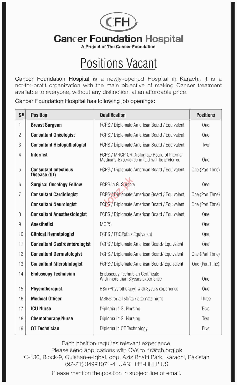 Cancer Foundation Hospital Management Job in Karachi