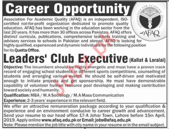 Club Executive Jobs in Association For Academic Quality AFAQ