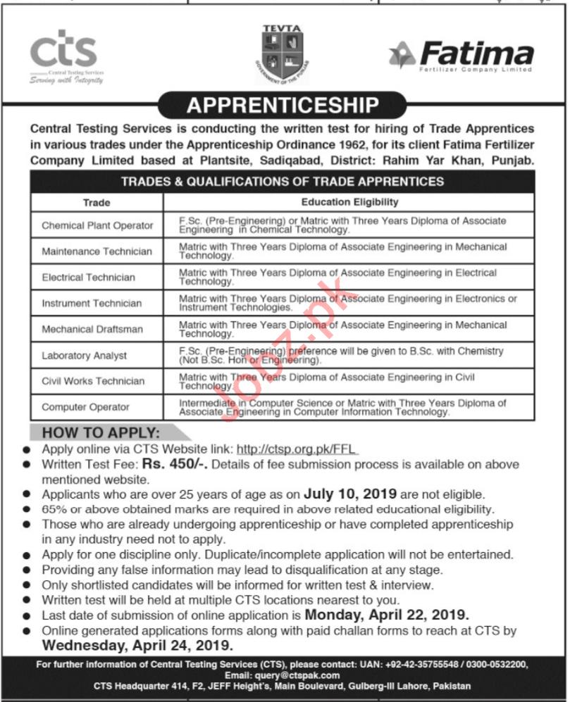 Fatima Fertilizer Company Apprenticeship Jobs 2019 Via CTS