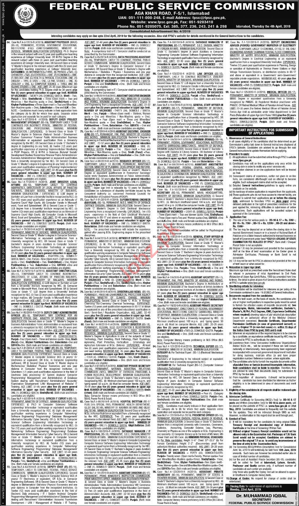 FPSC Medical & Professor Jobs 2019
