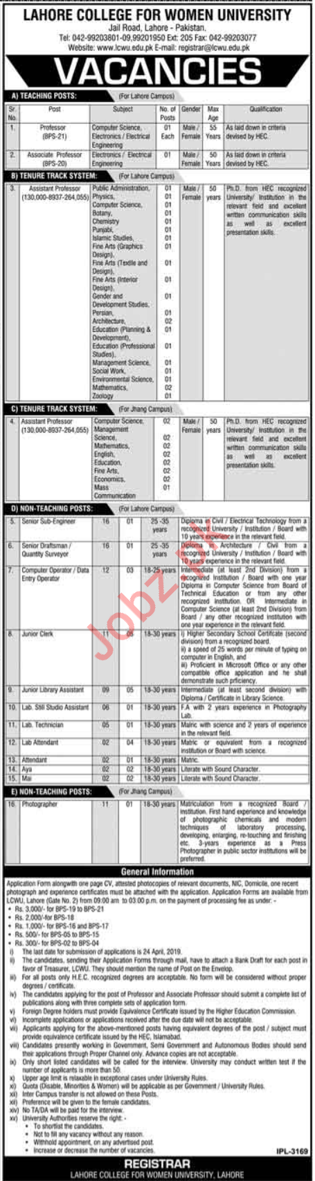 LCWU Lahore College For Women University Jobs 2019