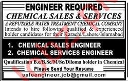 Chemical Sales Engineer & Chemical Service Engineer Jobs
