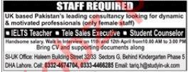 IELTS Teacher, Tele Sales Executive, Student Counselor Jobs