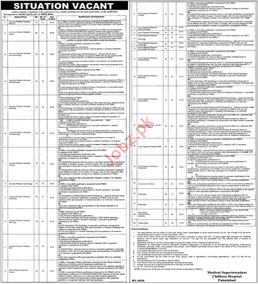 Children Hospital Faisalabad Jobs 2019 for Professors
