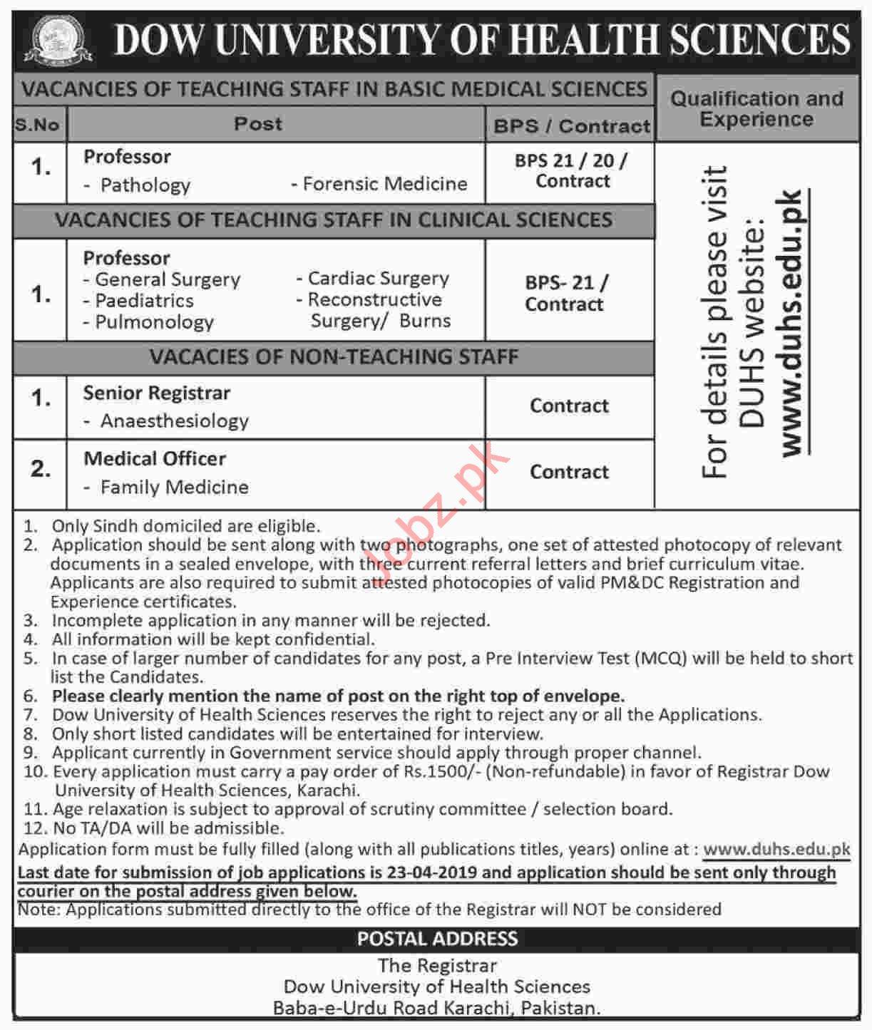 Dow University of Health Sciences DUHS Jobs 2019 in Karachi