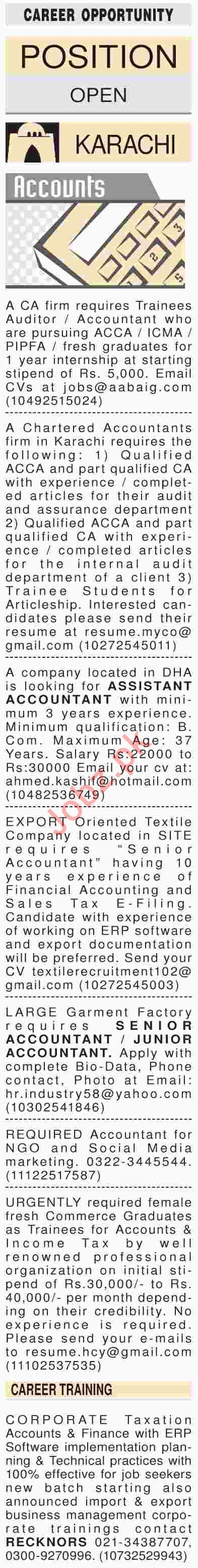Dawn Sunday Classified Ads 7th April 2019 for Accounts Staff