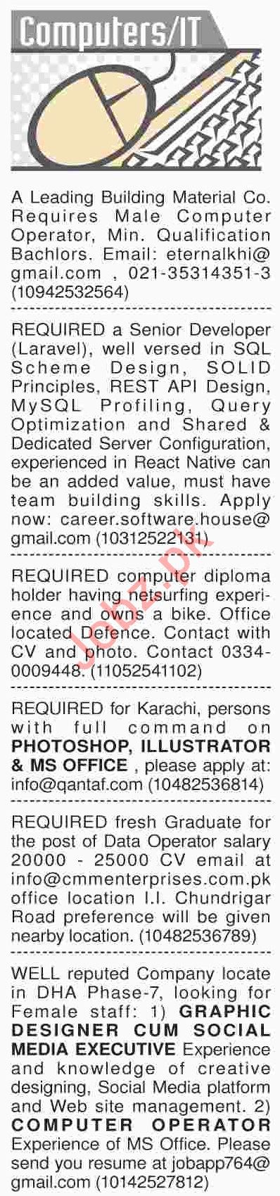 Dawn Sunday Classified Ads 7th April 2019 for IT Staff