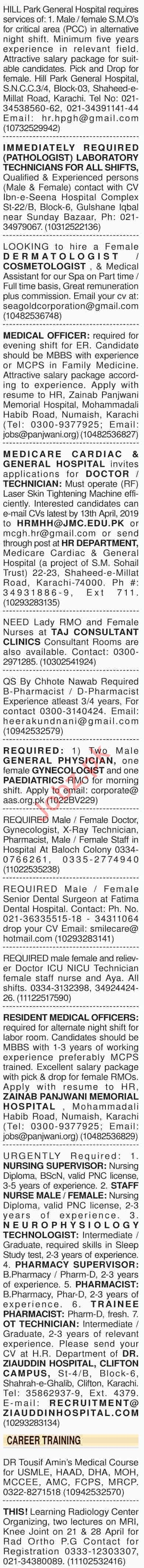 Dawn Sunday Classified Ads 7th April 2019 for Medical Staff