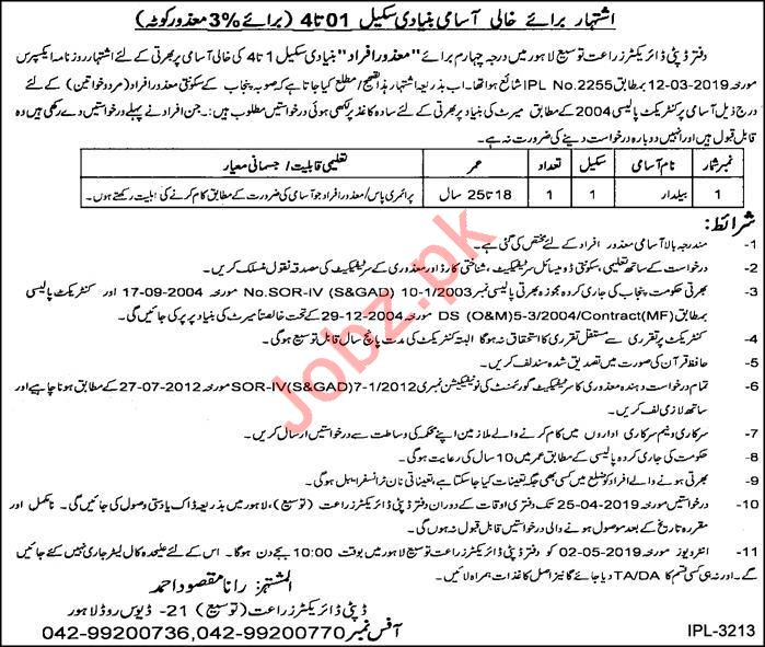 Agriculture Department Job 2019 in Lahore