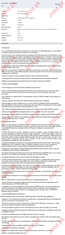 UNESCO UN NGO Jobs 2019 for Project Officer 2019 Job