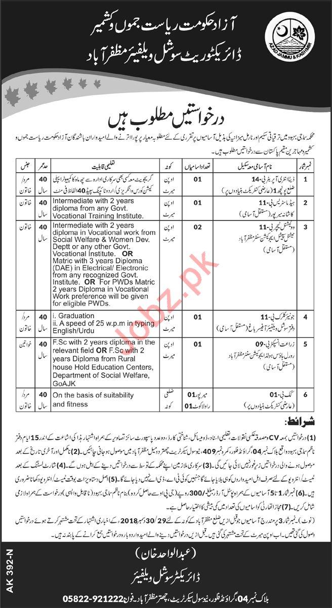 Social Welfare Department Jobs 2019 in Muzaffarabad AJK