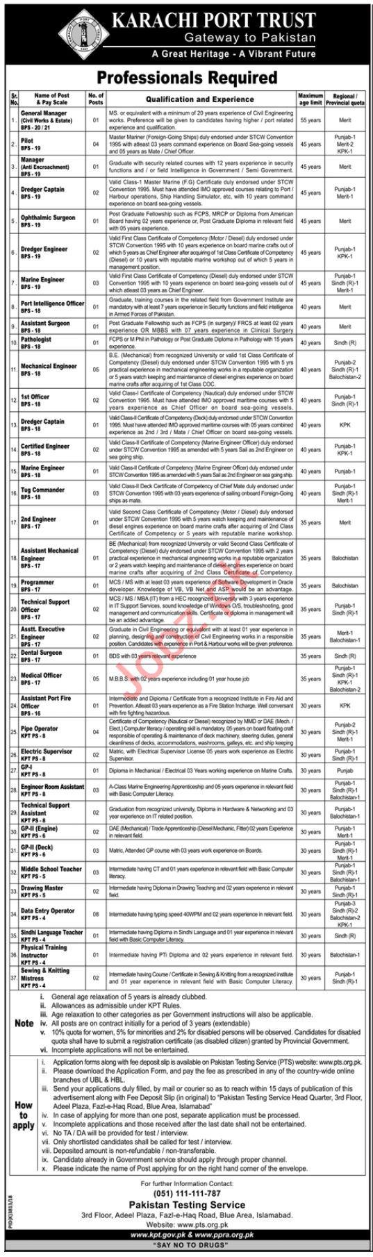 Karachi Port Trust Management Jobs 2019
