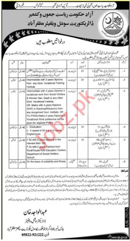 Social Welfare Department Jobs 2019 For Muzaffarabad AJK