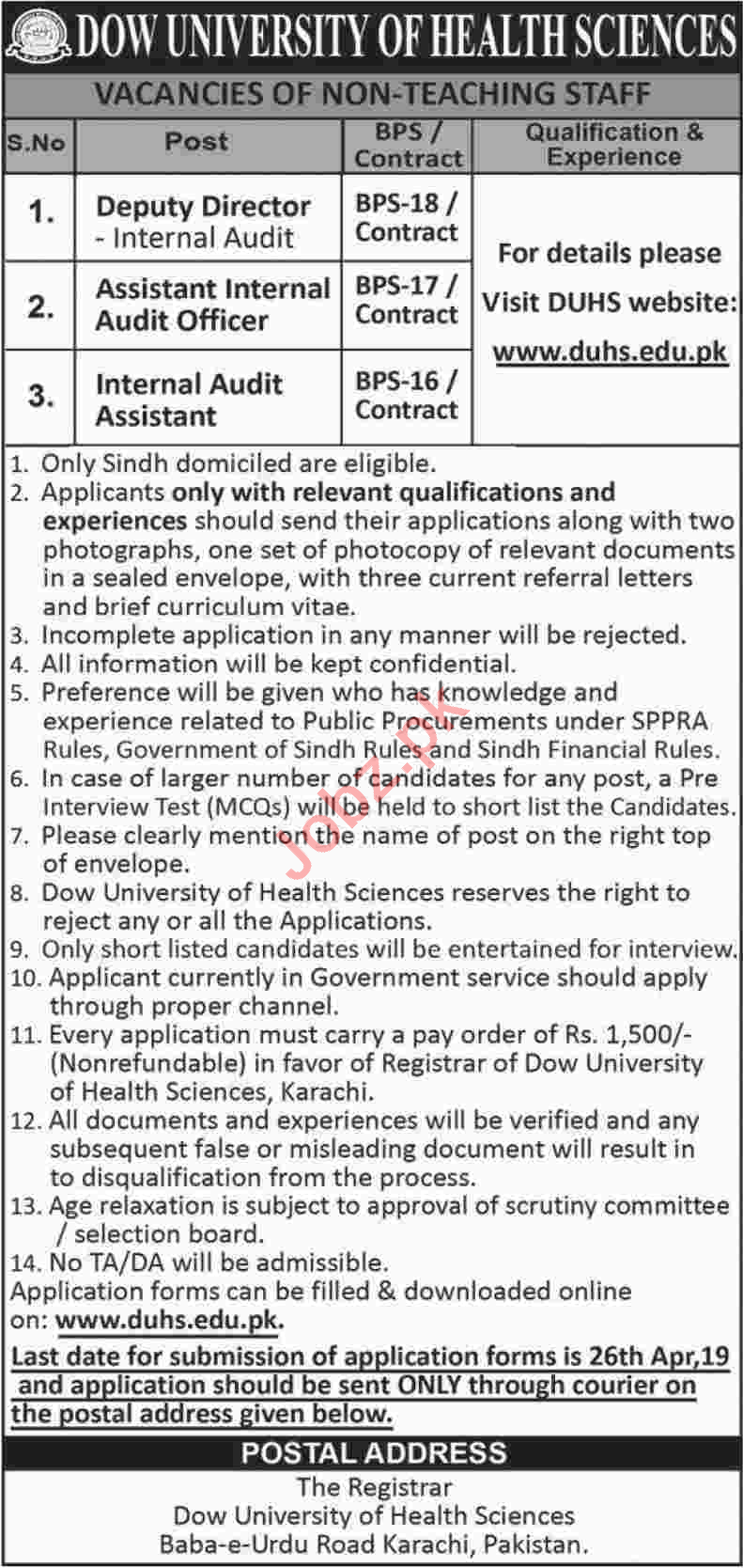 Dow University of Health and Sciences Management Jobs 2019