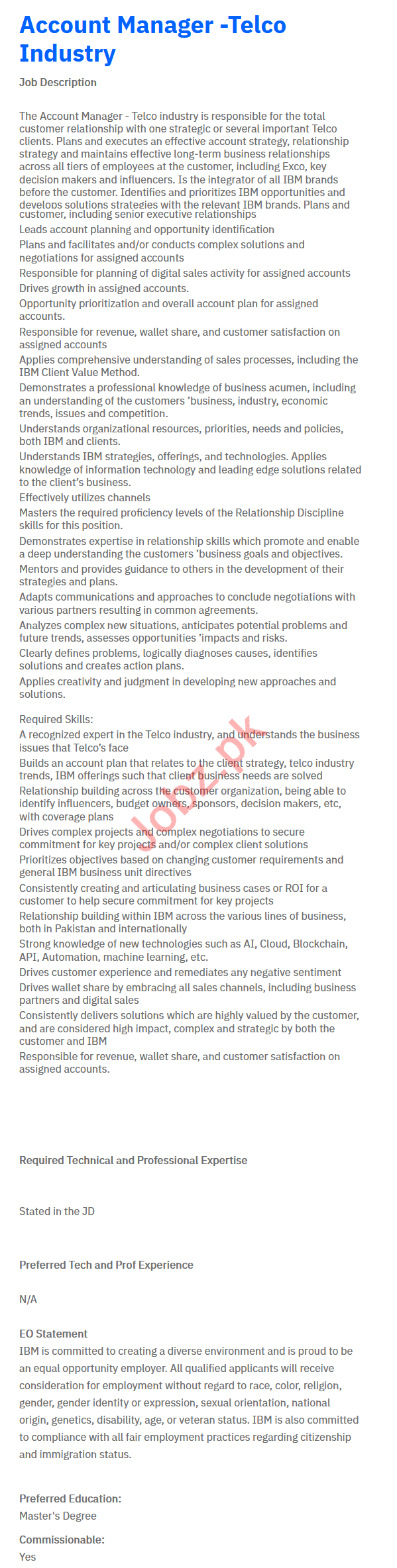 IBM Pakistan Accounts Manager Job in Islamabad