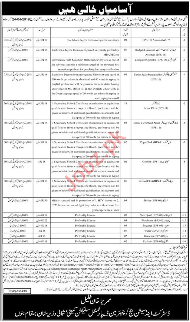 District & Session Court Jobs in Bannu