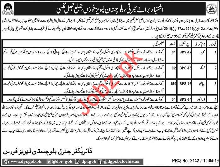 Levies Force Management Job in Jhal Magsi