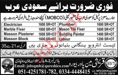 Electrician & Mason Job in Saudi Arabia