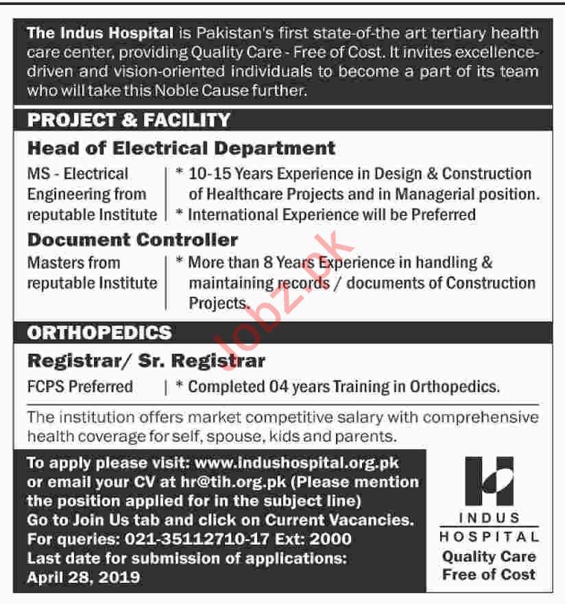 Indus Hospital Jobs 2019 in Karachi