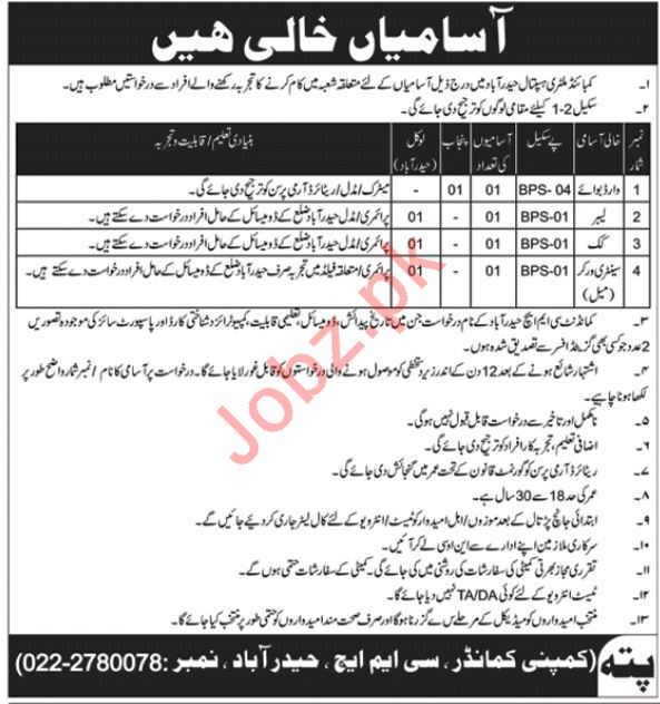 CMH Combined Military Hospital Jobs 2019 in Hyderabad
