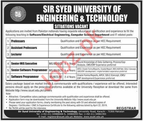 Sir Syed University of Engineer & Technology Jobs 2019