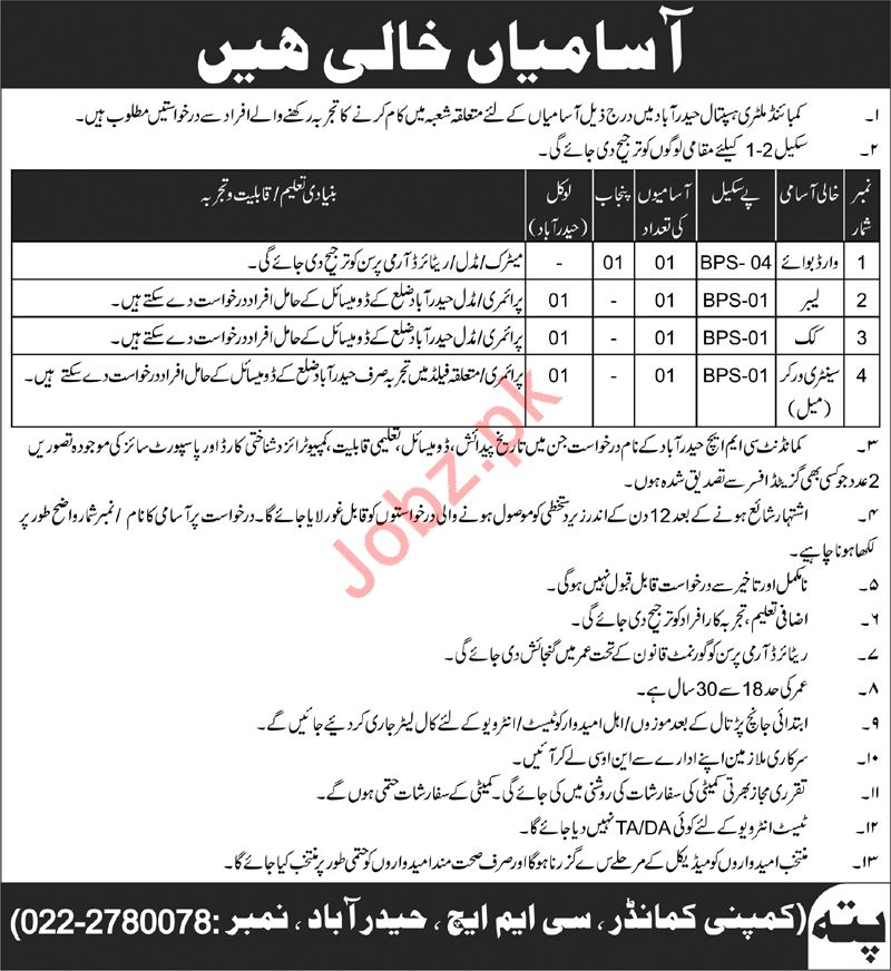 CMH Combined Military Hospital Jobs 2019 For Hyderabad