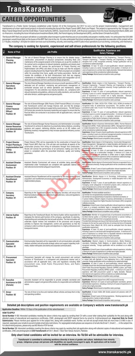TransKarachi Public Sector Company Jobs 2019 in Karachi