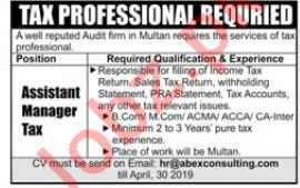Assistant Manager Tax Jobs in Audit Firm