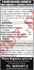 Engineer, IT Engineer, Sales Executive, Office Assistant Job