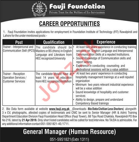 Fauji Foundation Trainer Jobs 2019