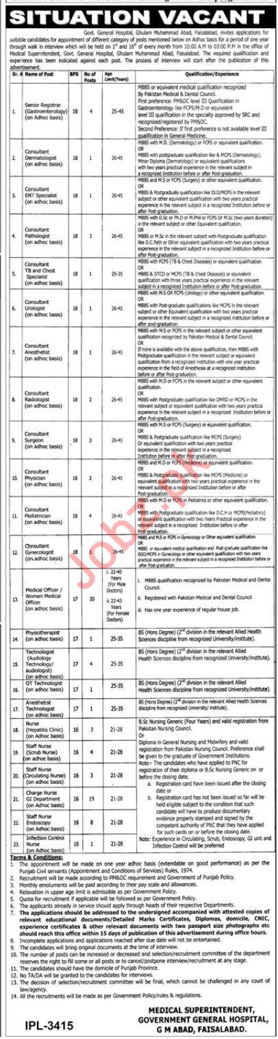Govt General Hospital Ghulam Muhammad Abad Faisalabad Jobs
